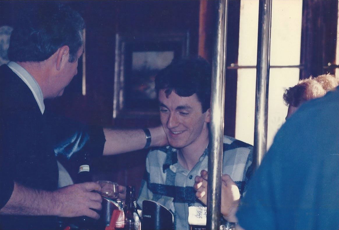 With my father at The Enterprise pub, 1986
